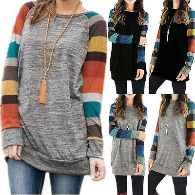 New Womens Crew Neck Striped Long Sleeve T-Shirt Ladies Casual Loose Tops Blouse