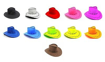 Faux Suede Cowboy Hat Western Wild West Sheriff Cowgirl Bandit Costume Party