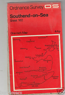 "Vintage Ordnance Survey 1"" Map Southend-On-Sea OS Sheet 162"