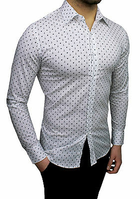 the best attitude 33ecb 71371 CAMICIA UOMO DIAMOND Casual Bianco Micro Fantasia Ancore Slim Fit Aderente