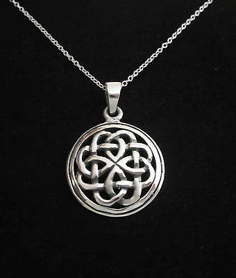 Solid 925 sterling silver CELTIC KNOT round pendant