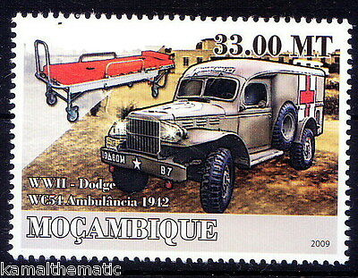 MOcambique MNH, Ambulance, Red Cross, Transport, WWII Dodge Vehicle
