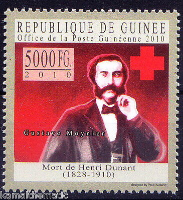 Guinee Rep. MNH, Gustave Moynier, Rival of founder Henry Dunant, Red Cross