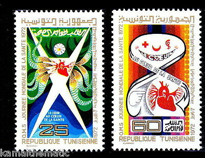 Tunisia 1972 MNH 2v, World Heart Month, Red Cross, Medicine Logo, Cardiology