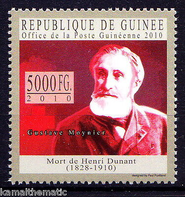 Guinee Rep. MNH, Gustave Moynier, Major rival of founder Henry Dunant, Red Cross