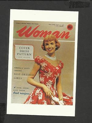 Nostalgia Postcard Cover of Woman early Dressmakers Patterns 1956