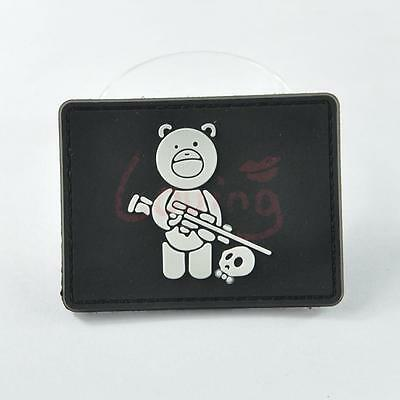 1 X Sniper Bear 3D PVC Rubber Tactical Military Morale Patch Magic Badge