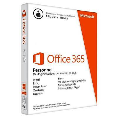 MICROSOFT Office 365 Personal 32-bit/x64 French Subscription 1 License France O