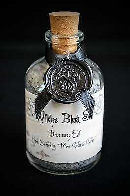 WITCHES BLACK SALT in Potion Bottle Altar Wicca witches Salt Pagan Protection