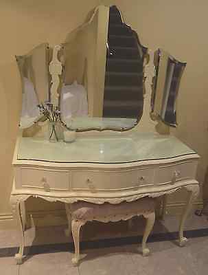 Antique French provincial dressing table & stool