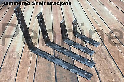 1 pair of HAMMERED STEEL Shelf Brackets HAND MADE - 25 x 6.0mm 7 Sizes available