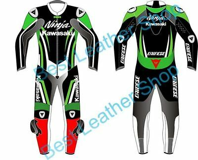 Kawasaki Motorbike Leather Suit Motorcycle Racing Custom Made Any Size/Colour