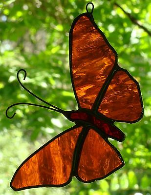 ORANGE & RED BUTTERFLY Stained Glass Suncatcher Hand Crafted Australian Artist