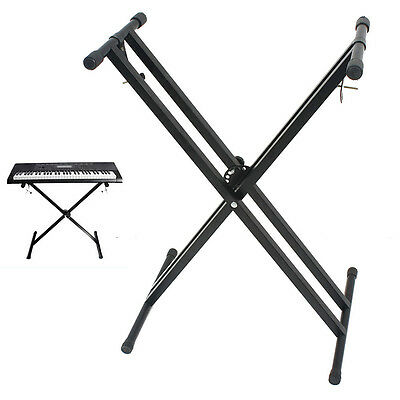 Iron Foldable Double Braced X-style Music Piano Keyboard Stand Adjustable Height