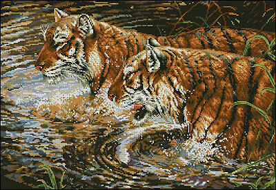 Fun in the Water - Tiger's- Cross Stitch Chart - FREE POST