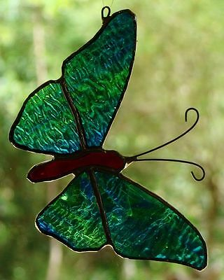 OPAL BUTTERFLY Stained Glass Suncatcher Hand Crafted BLUES & GREEN SWIRLS GIFTS