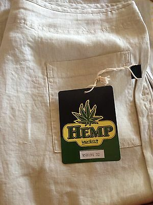 100% Hemp Pants with zip fly button closure with drawstring