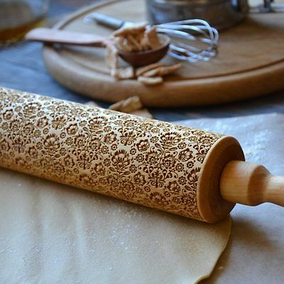 Embossed wooden rolling pin with decorative pattern - Creative Gift  for Women!