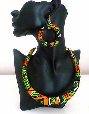 Ankara Earrings and Necklace-African Jewelry Set- New Design