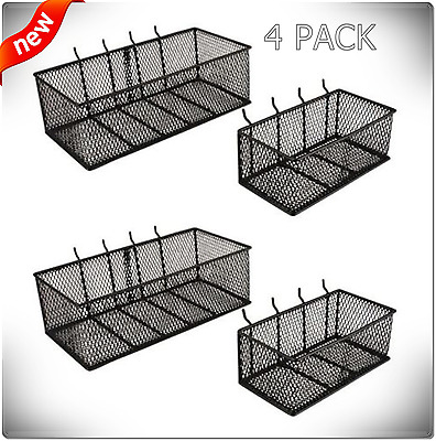 Wall Peg Board Baskets Organizer Tool Storage Garage Steel Pegboard Bins 4-Pack