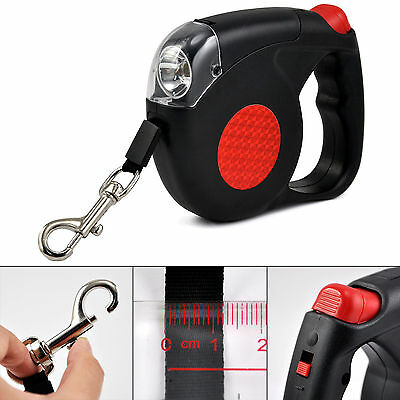 Retractable Dog Lead With LED Torch 4.5 Metre Pets Puppy Leash