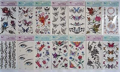 Large Sheet  Assorted Stick on Temporary Tattoos Butterflies Roses - 12 designs