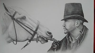 Original A3 pencil drawing - Tom Hardy with horse Taboo