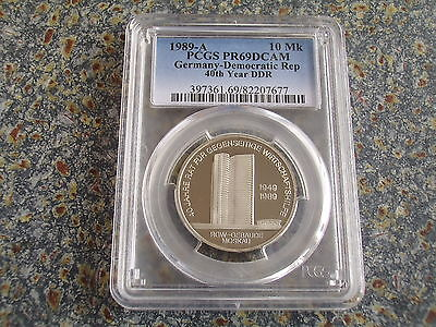Germany GDR proof 10 Mark 1989 RGW 40 years DDR PCGS PR69DCAM 3080 pieces only !