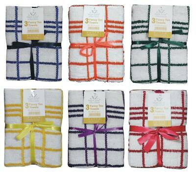 Tea Towel 3 Pack Set Terry Cotton Kitchen Dish Cloth Large Cleaning Check Stripe