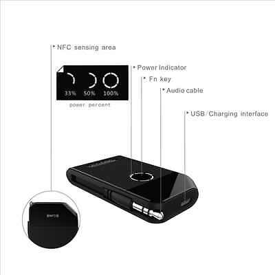 Rii Geartist RT419 Wireless Bluetooth Stereo Transmitter and Audio Receiver (NFC