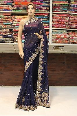 Indian Bollywood Designer Hand Crafted Woman Saree Sari Bridal Party Wear Dress