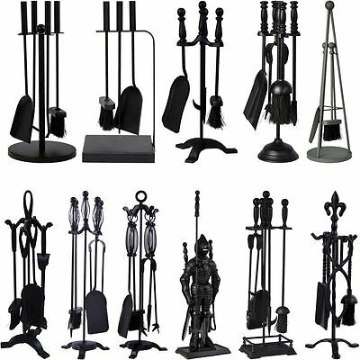 Black Companion Set 4 5 Piece Fireside Brush Poker Shovel Tongs Cast Iron Tools