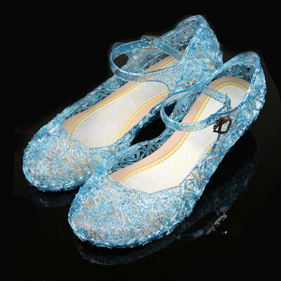 Kids Crystal Jelly Gel Christmas Shoes For Frozen Cinderella Anna Elsa Cosplay