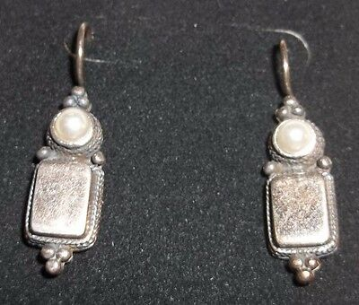 Vintage SIGNED Thailand 925 Sterling Mabe Pearl Hanging Earrings Pierced LOVELY