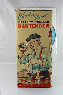Vintage Rosko Toys Charley Weaver Battery Powered Bartender With Box 1950's