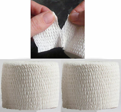 Tearable White Line-Out Sports Rugby Elastic Adhesive Tape 5cm x 6.9m 2 Rolls