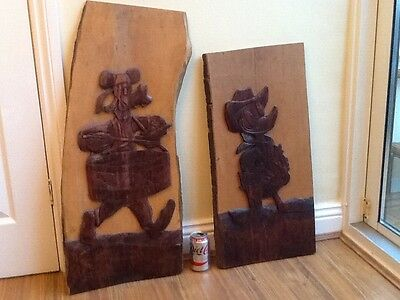 Vintage Disney Characters Carved On Wood, Donald  & Goofy, 1940s, Signed
