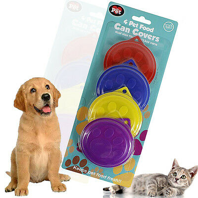 4/8 Pet Food Can Lids Covers Plastic Reusable Tin Covers Dog Cat Fresh Dual Size