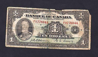1935 Bank Of Canada 1$ Dollar Bank Note French