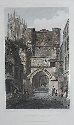 OLD ANTIQUE PRINT BOOTHAM BAR YORK YORKSHIRE c1831 ENGRAVING by WHITTLOCK