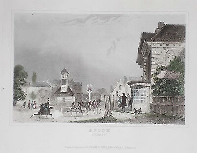 OLD ANTIQUE PRINT EPSOM SURREY c1840's ENGRAVING by DUGDALE TOWN VIEW