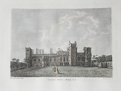 OLD ANTIQUE PRINT LAMBETH PALACE LONDON c1780's ENGRAVING by HOOPER / GOFREY