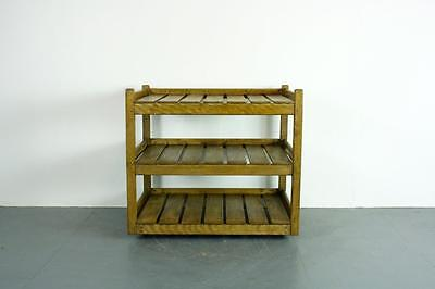 Vintage Industrial Wooden Bakers Kitchen Rack Shelving Unit Trolley #1943