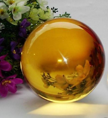 40MM+Stand Natural yellow Obsidian Sphere Large Crystal Ball Healing Stone