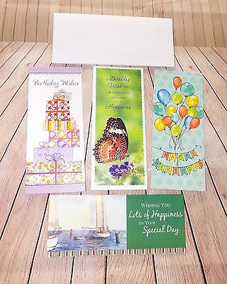 Mixed Lot Of 5 Tall Birthday Greeting Cards With Envelopes New
