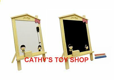 Children Kids Wooden Desktop Easel Black/White Board Magnetic Portable Size