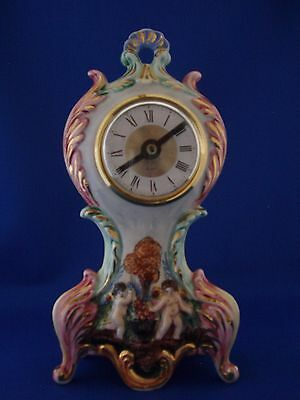 Capodimonte Clock  Cherubs Design Made in Italy Excellent  Collectible!
