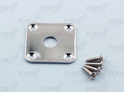 Gibson® aftermarket square flat jack plate, HJ015, Chrome with screws