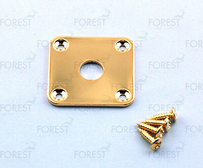 Gibson® aftermarket square flat jack plate, HJ015, Gold with screws