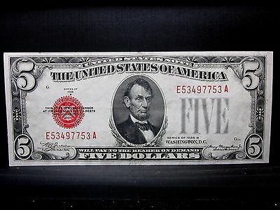 1928-B $5 United States Note ✪ Au Almost Uncirculated ✪ Legal Tender ◢Trusted◣